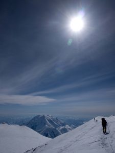 Andrew Lattimer, doctor and mountain patrol volunteer, descending from Denali's North Summit.  Photo courtesy: Tucker Chenoweth - NPS