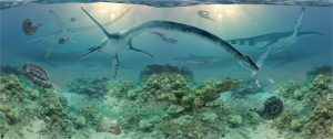This painting of life in a Cretaceous sea by Anchorage artist James Havens depicts elasmosaurs.   Photo:  Museum of the North