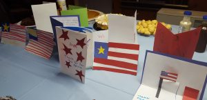 Cards made by Talkeetna Elementary students line the potluck table at VFW Post 3836.  Photo: Phillip Manning