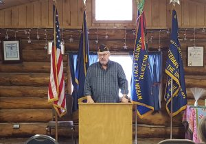 VFW Post 3836 Senior Vice Commander Mel Sheppard speaks about the sacrifices made by those who serve.  Photo: Phillip Manning