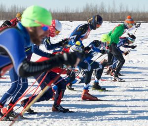 Racers begin the 50k race at the 2017 Oosik in Talkeetna. Photo: Phillip Manning