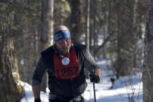 A competitor in the Oosik's 50km race makes his way through the Talkeetna woods.  Photo:  Phillip Manning