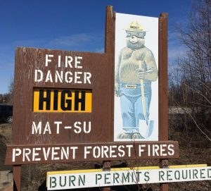 "The fire danger level sign near the ""Y.""  Photo by Katie Writer - KTNA"