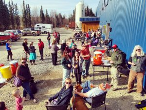 Volunteers gather at Denali Brewing Company after Saturday's spur road cleanup.  Photo courtesy of Charissa Hernandez.