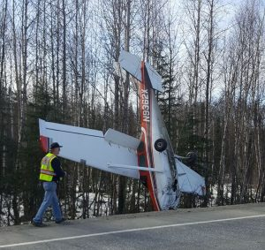 The Cessna 182E that crashed near Mile 90 of the Parks Highway on Saturday afternoon. Photo courtesy of Katie Dietrich