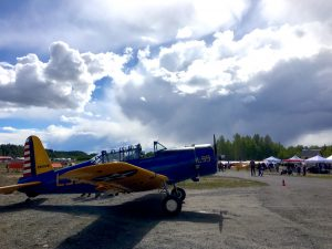"""A Vultee BT-13B """"Valiant"""" parked at the Talkeetna State Airport during the 2017 Talkeetna Fly-In. Photo: Katie Writer - KTNA"""