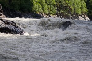 """The Devil's Horn,"" a section of Class-6 rapids in Devil's Canyon on the Susitna River. Photo: Phillip Manning - KTNA"