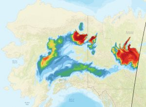 This image shows the extent of the smoke spreading Tuesday evening from fires burning in the northeastern Interior, Yukon and Northwest territories. Image courtesy National Oceanic and Atmospheric Administration