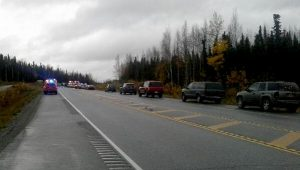 Emergency vehicles respond to the fatal crash near Mile 53 of the Parks Highway.  Photo courtesy of Mark Green