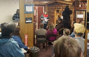 Sarah Asper-Smith asks locals what they want to see in the future of the Talkeetna Historical Society Museum.  Photo:  Phillip Manning - KTNA
